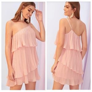 One Shoulder Pink Pleated Chiffon Tiered Dress